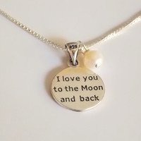 Sterling silver moon star necklace, engraved silver medallion necklace, I love you to the moon and back pendant