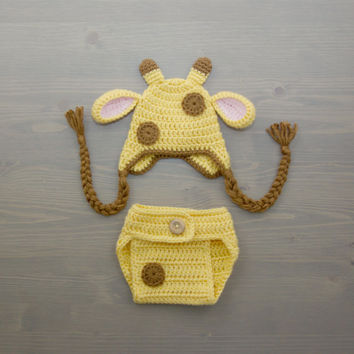 Crochet Giraffe Costume, Crochet Giraffe Set, Diaper Cover Set, Crochet Baby Hat, Newborn Photography Prop, Photo Prop, Baby Giraffe Costume
