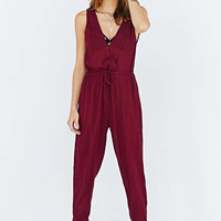Wine Red Chiffon V-Neck Sleeveless Casual Jumpsuit