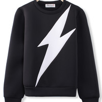 'The Janna' Black  Lightning Flash Printed Pullover Sweatshirt