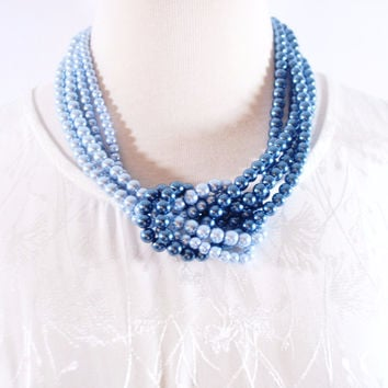 Blue ColorBlock Interlocking Glass Pearls Necklace
