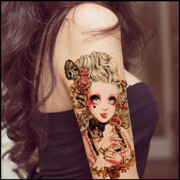 21 * 15CM Waterproof Painted Body Art Tattoo water transfer tattoo sticker Baby Beauty Doll Pattern temporary tattoo