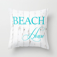 Beach House Throw Pillow OR Case California Blue Shabby Cottage Decor 16x16 California Art