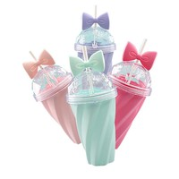 2017 new fashion 4colors cool bowknot summer Hot sale  ice cup with straw my water gel bottle  bpa-free Twisted straw CUP