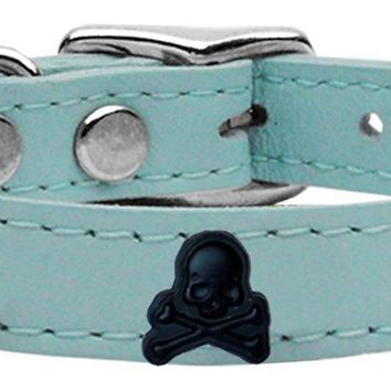 Skull Widget Genuine Leather Dog Collar Baby Blue 16