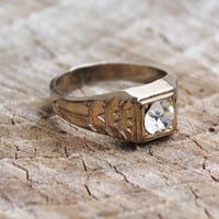 Vintage Mens Art Deco Gold Plated Ring