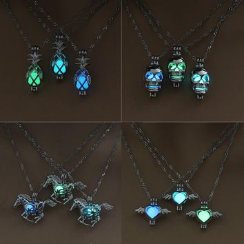 Sale 1Pc Fashion Luminous Beads Necklace Simple Hollow 6 Styles 3 Colors Pendant Horse/Heart/Skull/Dragon/Flower/Pineapple