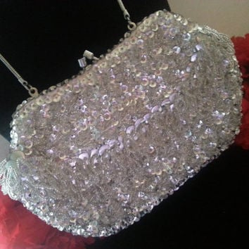 High End Vintage Beaded 1960's Clutch Handbag Collectible Purse Hand Made in Hong Kong, Old Hollywood Glamour