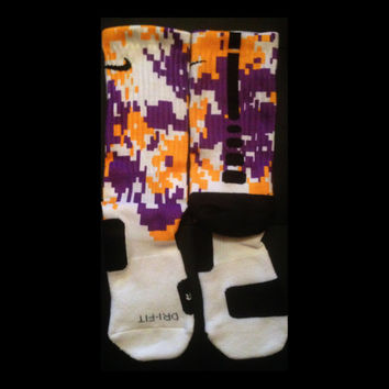 Digital Camo Purple Yellow White LSU colors Half Cover Custom Nike Elite Socks