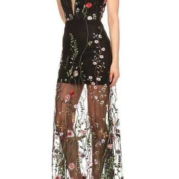 Floral Embroidered Sheer Maxi Dress