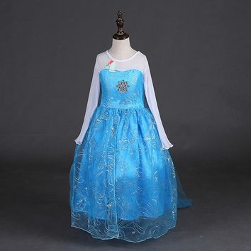 Samgami baby 2017 girls dress Elsa and Anna Dress Custom Cosplay Summer Princess Costume for Children dress Girls party wearing