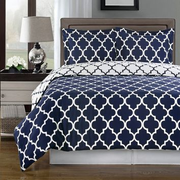 Meridian Navy 100% Combed cotton Duvet Cover Set