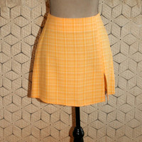 70s Yellow Mini Skirt Short Yellow Skirt Spring Skirt Summer Skirt Yellow Plaid Skirt 1970s Size 6 Skirt Small Vintage Womens Clothing
