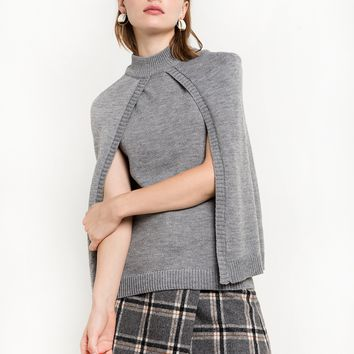 Grey Knit Cape