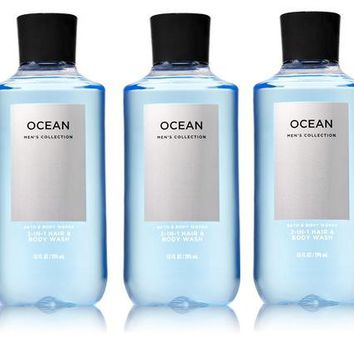 5 PACK Bath & Body Works OCEAN 2-in-1 Hair + Body Wash 10 oz