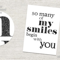 """PRINTABLE Love card """"so many of my smiles begin with you""""  Valentine card for him, distressed vintage, anniversary card for him -pp129"""