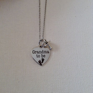 Grandma to be, expecting, grandma necklace with pacifier, grandchildren, expecting grandchildren, gifts for grandma