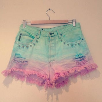 Pastel dip dye ombre studded vintage high by CosmikDebrisClothing