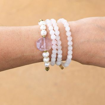 Rose Quartz and Pearls Mala Bracelet