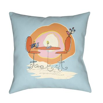 Doodle Pillow Cover - Burnt Orange, Pale Pink, Pale Blue, Bright Yellow, Saffron - DO023