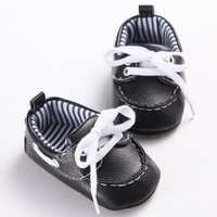 2016 Fashion Classic Leisure Blue Infant Toddler Baby Boy Kid Prewalker PU Leather Shoes Crib Babe Soft Soled Loafer 0-1 Years