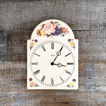 Hermle Wall Clock Mid Century Wall Clock Enamel Clock Flower Clock Kitchen Clock Unique Wall Clock Cottage Chic Wall Clock Made in Germany