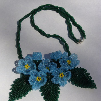Beaded necklace with blue forget-me colors. Beaded jewelry handmade. Delicate flower necklace. Necklace with me-nots.