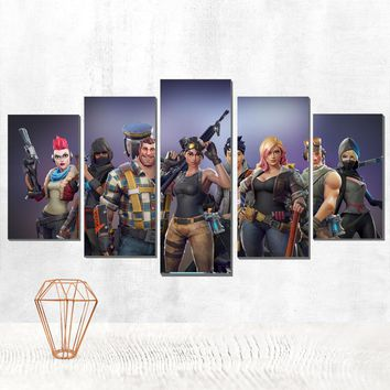 Fortnite Video Game Five Piece Canvas