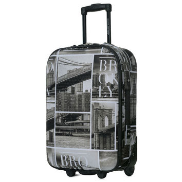 DAVIDJONES  1 Piece 28'' luggage fixed casters rolling Suitcase large capacity vintage print trolley Oxford canves travel case