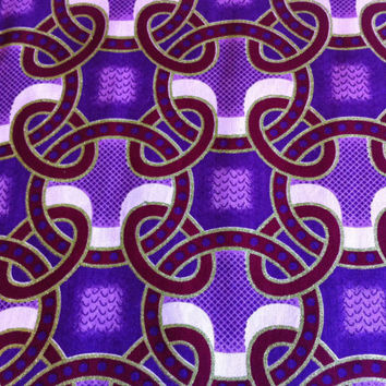 African Wax Print Fabric by the HALF YARD.  Purple, Maroon, Lime Green--Chain Links with Glitter Texture