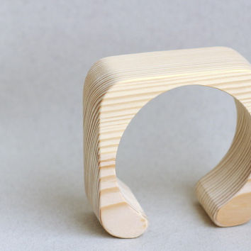35 mm Wooden cuff unfinished square with break - natural eco friendly fe35a