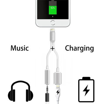 13cm Lighting to 3.5MM Headphone Headset Jack+usb cable Charger 2 in 1 Charging Audio Adapter For iPhone 7 7Plus Earphone Cable