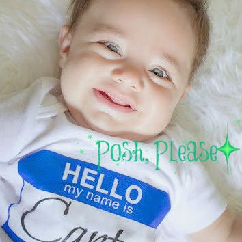 Newborn Boy Coming Home Outfit Newborn Name Reveal Take Home Outfit Hello My Name is Baby Boy Outfit OnePiece Birth Announcement Outfit