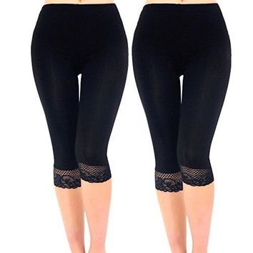 Liang Rou Womens Ultra Thin Stretch Cropped Leggings Black Lace Trim 2Pack
