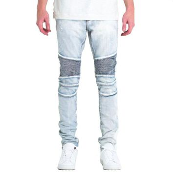 ONETOW Embellish NYC Gorgeous Biker Jeans In Light Blue