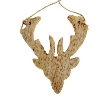 Hanging Distressed Reindeer Head Wooden Christmas Ornament, Natural, 3-3/4-Inch