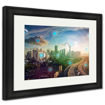 Framed Print, Smart City And Wireless Communication Network Abstract Image Visual Internet Of