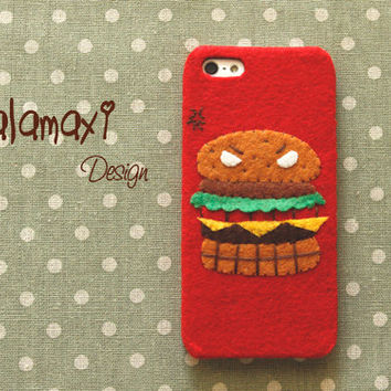 Handmade Felt Fabric Phone Case, Felt Fabric iPhone 4/4S Case, Handmade Felt Fabric iPhone 5/5S/5C Case / The Angry Hamburger Phone Case