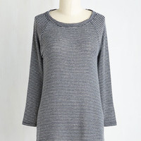 Nautical Mid-length Long Sleeve Lounging at the Library Top in Navy