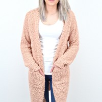 Cozy Wubby Open Cardigan w/ Pockets {Blush}