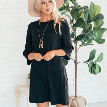 Shift Dress with Bell Sleeves- Black