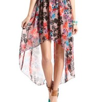 Floral Chiffon Hi-Low Skirt: Charlotte Russe