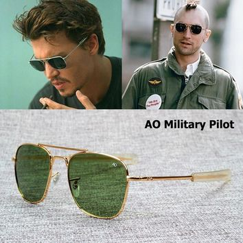 JackJad New Fashion Army MILITARY AO Pilot 54mm Sunglasses Brand American Optical Glass Lens Sun Glasses Oculos De Sol Masculino