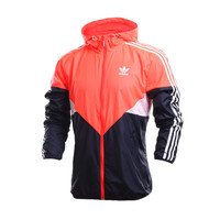 """Adidas"" Multicolor Stripe Print Long Sleeve Sportswear Zip Cardigan Hooded Windbreaker Coat"