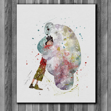 Baymax and Hiro Hamada DISNEY 4  watercolor,  Big Hero 6 Poster - Art Print, instant download, Watercolor Print, poste