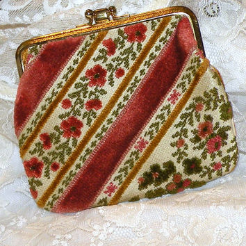 Vintage Purse Chenille Floral Design Tapestry Clutch Carpet Bag Change Purse Fall Color Handbag 1960s