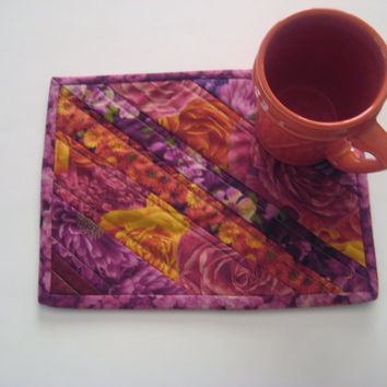 Quilted Mug Rug Snack Mat Coaster Placemat #102 Upcycled Repurposed Eco-Friendly Autumn Fall Florals