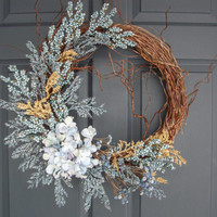 WREATH SALE EVENT Rustic Wreath - Country Blue Wreath - Variegated Hydrangea Wreath - Berry Wreath - Spring Wreath - Housewarming Gift - Cot