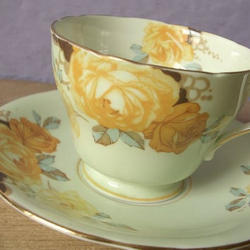 Antique tea cup, vintage 1940's Aynsley bone china tea cup, yellow roses tea cup and saucer set, English tea set