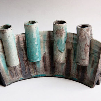 Mid Century Dutch Modernist Art Pottery Studio Object/ Candle Holders -  60s